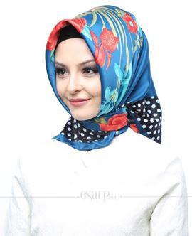 AKEL Mavi Siyah Renkli Çiçek Ve Puantiye Desenli Saten Eşarp 101008