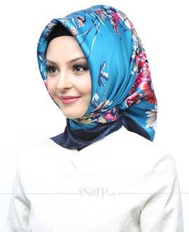 AKEL Lacivert Mavi Renkli Çiçek Desenli Saten Eşarp 101015