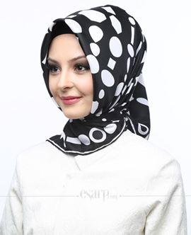 AKEL Siyah Kahverengi Renkli Geometrik Desenli Saten Eşarp 101045