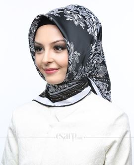 AKEL Siyah Beyaz Renkli Karışık Desenli Saten Eşarp 101049