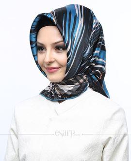 AKEL Mavi Siyah Renkli Geometrik Desenli Saten Eşarp 101070