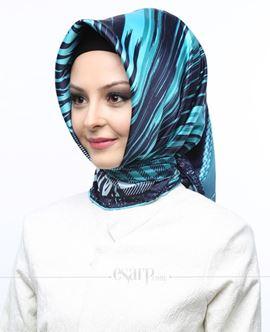 AKEL Lacivert Mavi Renkli Geometrik Desenli Saten Eşarp 101073