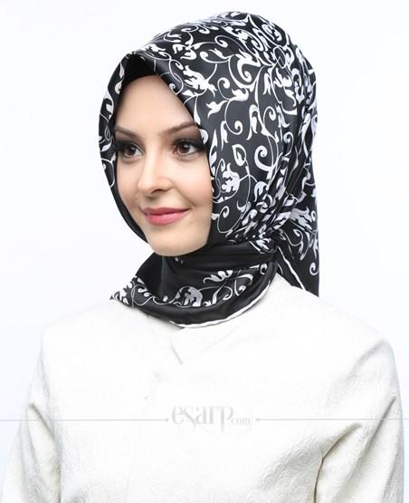 AKEL Siyah Beyaz Renkli Barok Desenli Saten Eşarp