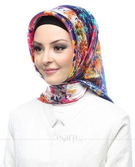 AKER Pembe Lacivert Renkli Çiçek Desenli İpek Eşarp 102053