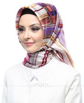 AKER Krem Renkli Çizgi Desenli İpek Eşarp 102056