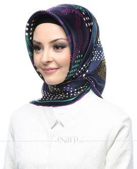 AKER Lacivert Renkli Puantiye Desenli İpek Eşarp 102057