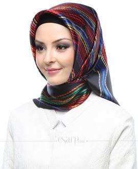 AKER Siyah Mavi Renkli Karışık Desenli İpek Eşarp 102059