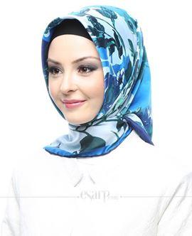 AKER SPORT Lacivert Mavi Renkli Çiçek Desenli Rayon Eşarp 103004