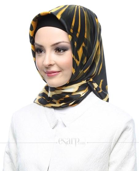 AKER SPORT Sarı Siyah Renkli Leopar Desenli Rayon Eşarp