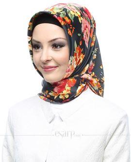 AKER SPORT Siyah Sarı Renkli Çiçek Desenli Rayon Eşarp 103010