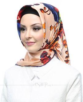 AKER SPORT Krem Kırmızı Renkli Çiçek Desenli Rayon Eşarp 103011