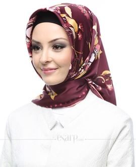 AKER SPORT Mor Renkli Çiçek Desenli Rayon Eşarp 103014