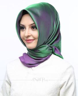 AKMER Yeşil Mor Renkli Çiçek Desenli Digital Baskılı Polyester Eşarp 104002