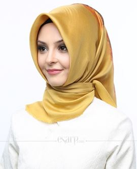 AKMER Sarı Renkli Çiçek Desenli Digital Baskılı Polyester Eşarp 104003