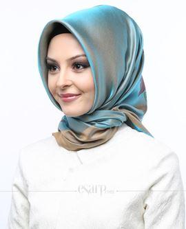 AKMER Bej Mavi Renkli Çiçek Desenli Digital Baskılı Polyester Eşarp 104009