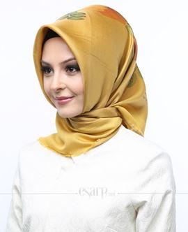 AKMER Sarı Renkli Çiçek Desenli Digital Baskılı Polyester Eşarp 104011