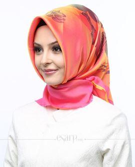 AKMER Gül Kurusu Renkli Çiçek Desenli Digital Baskılı Polyester Eşarp 104013