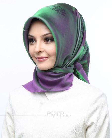 AKMER Yeşil Mor Renkli Çiçek Desenli Digital Baskılı Polyester Eşarp