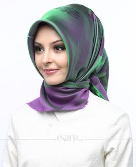AKMER Yeşil Mor Renkli Çiçek Desenli Digital Baskılı Polyester Eşarp 104015