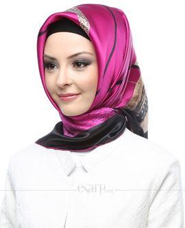 ARMİNE SiyahPembe Renkli Resim Desenli İpek Eşarp 105045