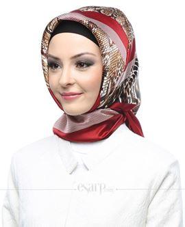 ARMİNE Kırmızı Renkli Leopar Desenli İpek Eşarp 105046