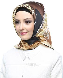ARMİNE Sarı Kahverengi Renkli Barok Desenli İpek Eşarp 105054