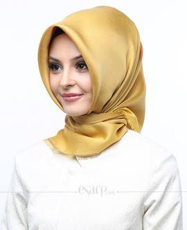 ECARDİN Sarı Renkli Çiçek Desenli Digital Baskılı Polyester Eşarp 108022