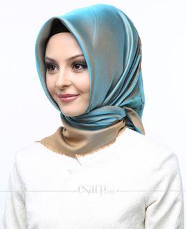 ECARDİN Bej Mavi Renkli Çiçek Desenli Digital Baskılı Polyester Eşarp 108023