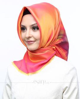 ECARDİN Pembe Sarı Renkli Gök Kuşaği Desenli Digital Baskılı Polyester Eşarp 108033