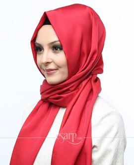 ECARDİN Kırmızı Renkli Düz Desenli Polyester Şal 108056