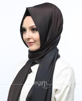 ECARDİN Lacivert Kahverengi Renkli Düz Desenli Polyester Şal 108063