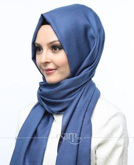 ECARDİN Lacivert Renkli Lacoste Desenli Polyester Şal 108074
