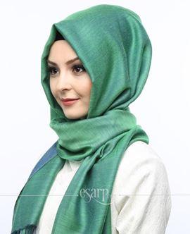 ECARDİN Lacivert Yeşil Renkli Düz Desenli Polyester Şal 108091