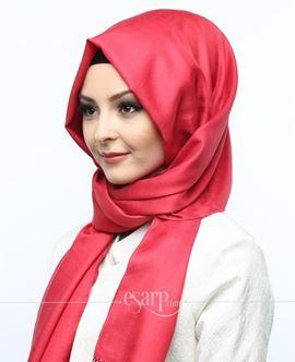 ECARDİN Kırmızı Renkli Düz Desenli Polyester Şal 108101