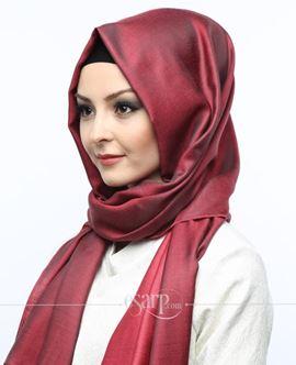 ECARDİN Kırmızı Siyah Renkli Düz Desenli Polyester Şal 108102