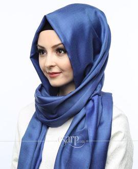 ECARDİN Lacivert Renkli Düz Desenli Polyester Şal 108117