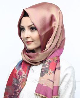 ECARDİN Bej Pembe Renkli Çiçek Desenli Digital Baskılı Polyester Şal 108120