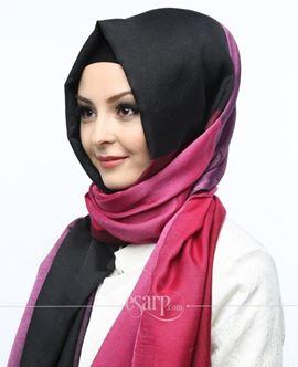 ECARDİN Siyah Pembe Renkli Polyester Şal 108142