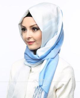 ECARDİN Mavi Krem Renkli Polyester Şal 108147
