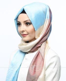 ECARDİN Krem Mavi Renkli Polyester Şal 108149