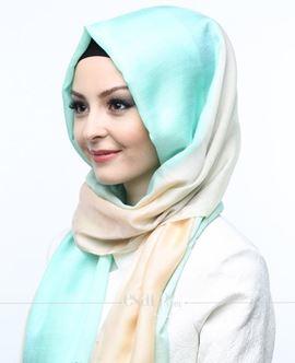 ECARDİN Yeşil Krem Renkli Polyester Şal 108154