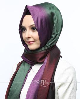 ECARDİN Bordo Yeşil Mor Renkli Polyester Şal 108157