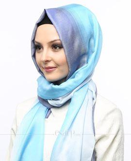 ECARDİN Mavi Renkli Polyester Şal 108158