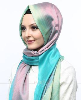 ECARDİN Yeşil Pembe Renkli Polyester Şal 108161