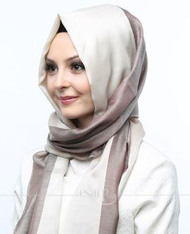 ECARDİN Kahverengi Krem Renkli Polyester Şal 108163