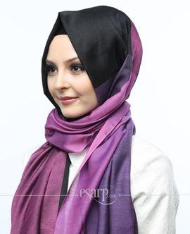 ECARDİN Siyah Mor Renkli Polyester Şal 108165
