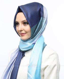 ECARDİN Mavi Mor Renkli Polyester Şal 108167