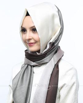 ECARDİN Kahverengi Gri Renkli Polyester Şal 108168