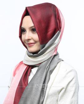 ECARDİN Kırmızı Gri Renkli Polyester Şal 108171