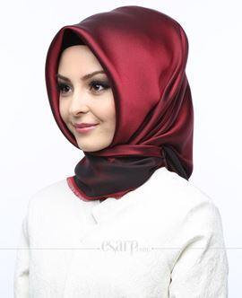 KARACA Bordo Lacivert Renkli Düz Desenli Polyester Eşarp 110004